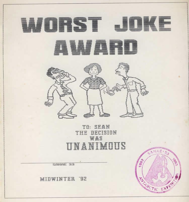29 June 1992 – Worst Joke   SANAE33